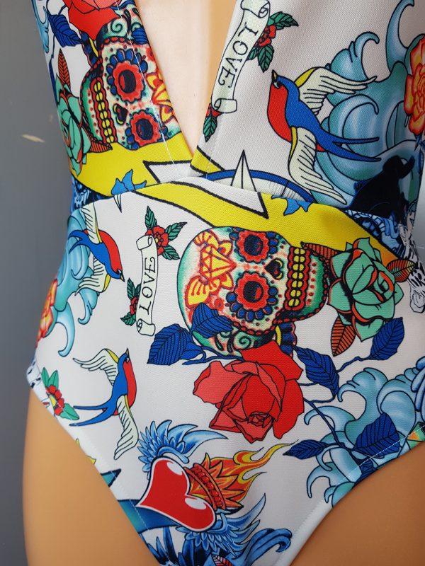 White Tattoo Print Bodysuit Velveteena Leigh 03